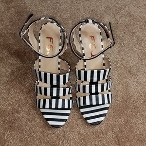 FSJ black and white striped heels
